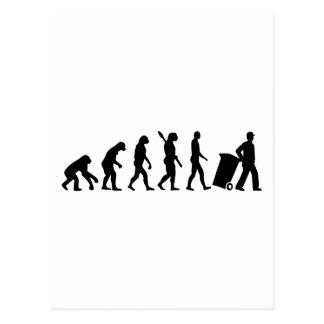Evolution garbage man postcard