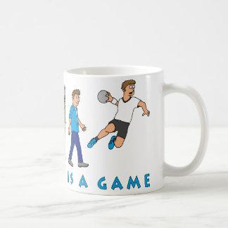 Evolution handball comic styles coffee mug