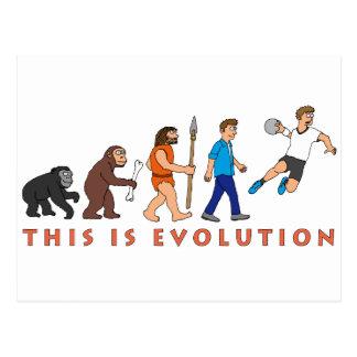 Evolution handball comic styles postcard
