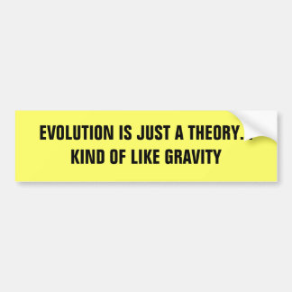 EVOLUTION IS JUST A THEORY... KIND OF LIKE GRAVITY CAR BUMPER STICKER