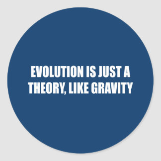 Evolution is just a theory like gravity classic round sticker
