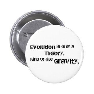 Evolution is only a theory. pinback button