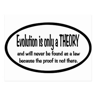 Evolution  is only  a  theory postcard
