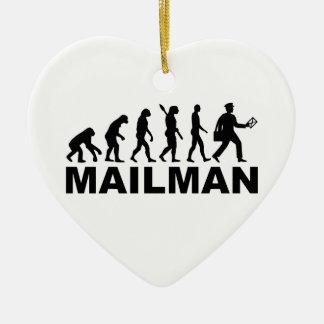 Evolution mailman ceramic ornament