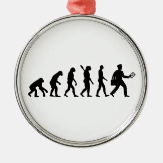 Evolution mailman metal ornament