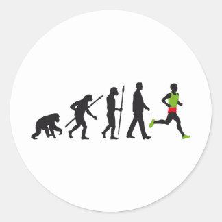 Evolution marathon runner runde aufkleber