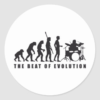 evolution more drummer classic round sticker