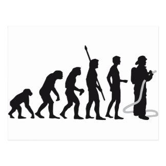 evolution more firefighter postcard