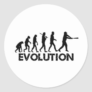 Evolution of a baseball player classic round sticker