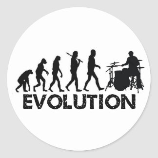 Evolution of a Drummer Round Stickers