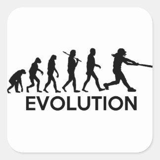 Evolution of a Softball Player Square Sticker