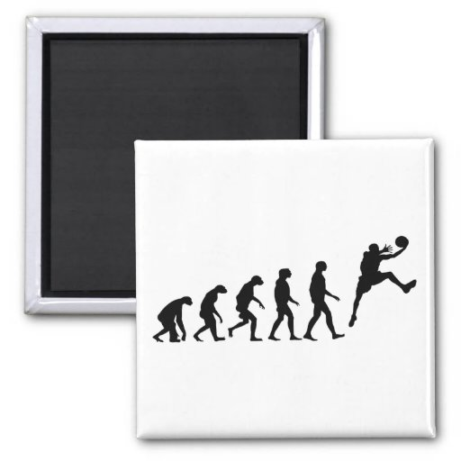 Evolution of Basketball 2 Inch Square Magnet