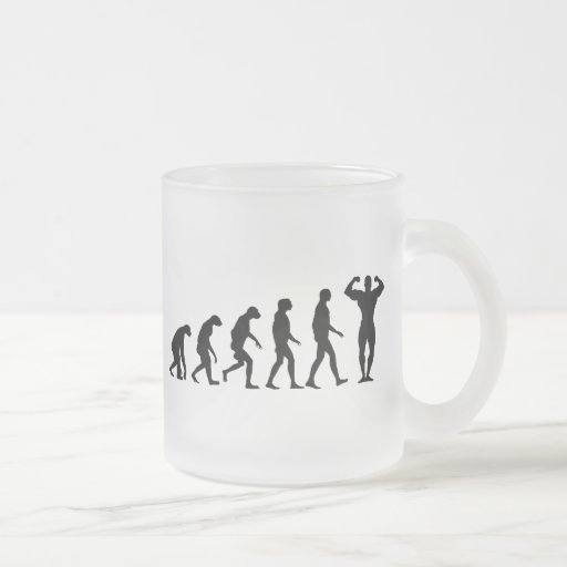 Evolution of Bodybuilding Frosted Glass Coffee Mug