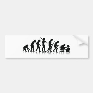 Evolution of Computer Addicts Bumper Sticker