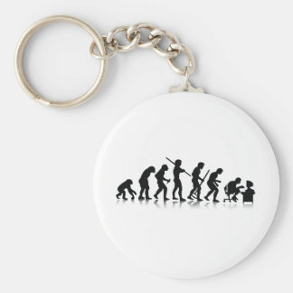 Evolution of Computer Addicts Keychain