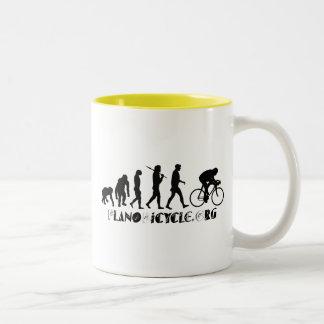 Evolution of Cycling Arty Logo Plano Texas Gear Two-Tone Coffee Mug