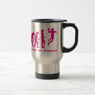 evolution OF hand ball woman Travel Mug