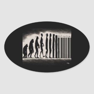 Evolution of Man Design - Mark of The Beast Oval Sticker