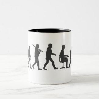 Evolution of Man Laptop Two-Tone Coffee Mug