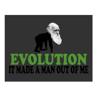 Evolution of man postcard