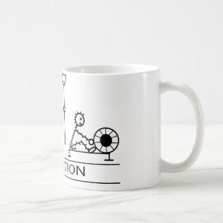 Evolution of man with rowing coffee mug