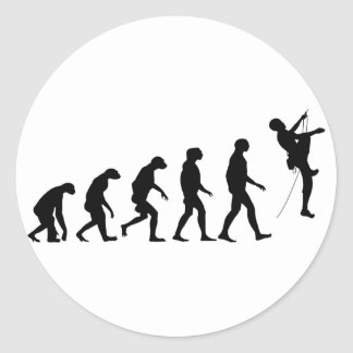 Evolution of Mountain Climbing Classic Round Sticker