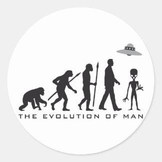evolution OF one alien Classic Round Sticker