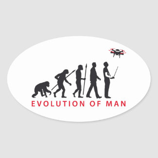 evolution OF one controlling drone Oval Sticker