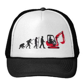 evolution OF one excavator more driver Trucker Hat