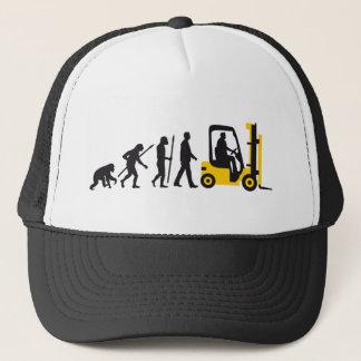 evolution OF one forklift more driver Trucker Hat