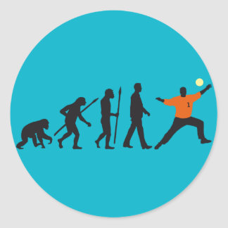 evolution OF one hand ball goal more keeper Classic Round Sticker