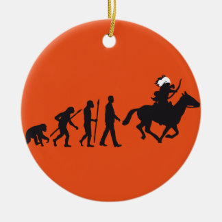 evolution OF one native american on horse with bow Ceramic Ornament