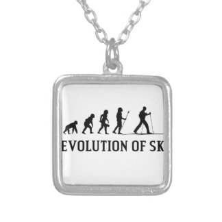 Evolution Of Ski Silver Plated Necklace