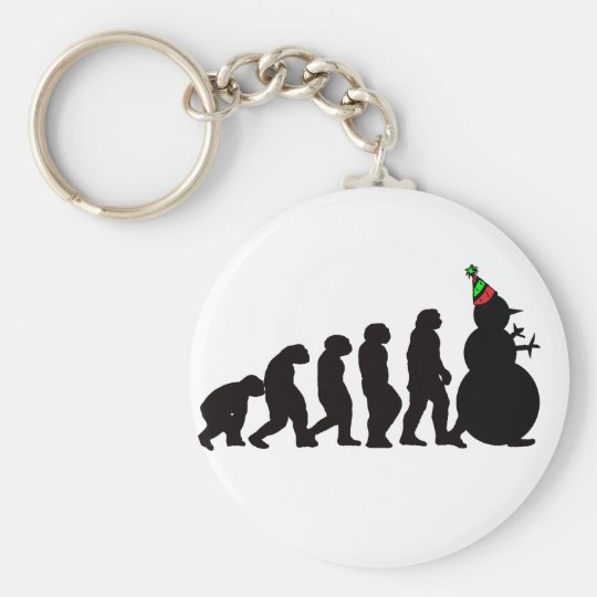 Evolution of Snowman, Fun Winter Apparel and Gifts Keychain