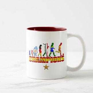 Evolution of Spanish football Spain World Champion Two-Tone Coffee Mug