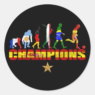 Evolution of Spanish football Spain World Champion Round Sticker