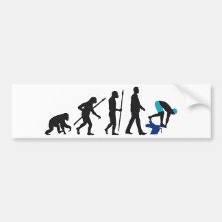 evolution of swimmer on start block bumper sticker