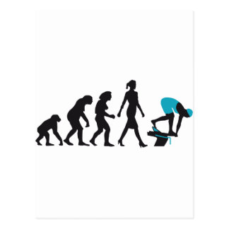 evolution of swimmer on start block postcard