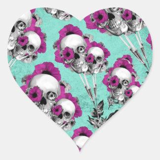 Evolution of the poppy, skull pattern. heart sticker