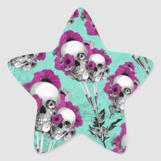 Evolution of the poppy, skull pattern. star sticker