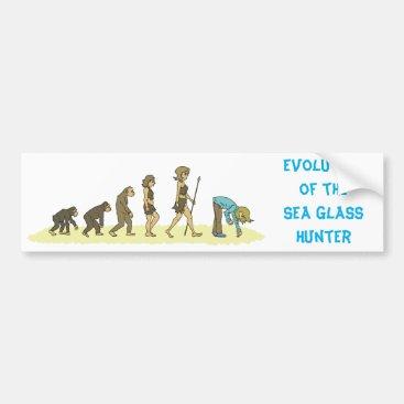 PEBLSROCK Evolution of the Sea Glass Hunter Bumper Sticker