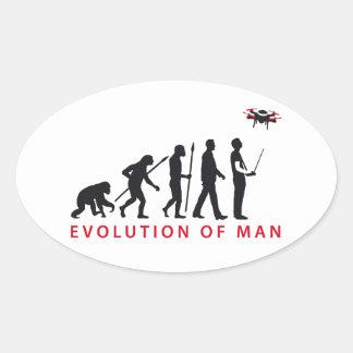 evolution of usted controlling drone pegatina de ovaladas