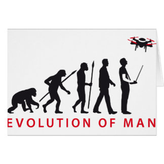 evolution of usted controlling drone tarjeta de felicitación