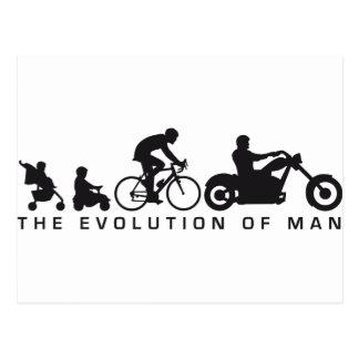 evolution of usted motorcycle biker tarjeta postal