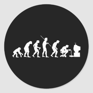 Evolution of Video Games Gaming Gamer Round Stickers
