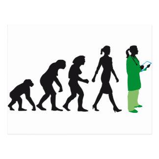 evolution OF woman female doctor Postcard
