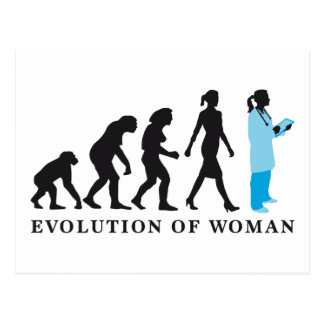 evolution OF woman female doctor Postcard