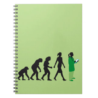 evolution of woman female doctor spiral notebook