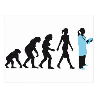 evolution of woman female doctor tarjeta postal