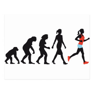 evolution of woman female jogger postales